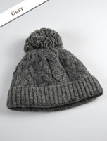 Aran Fleece Lined Rib Cap with Bobble - Grey