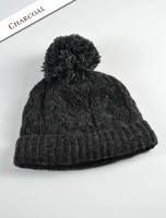 Aran Fleece Lined Rib Cap with Bobble - Charcoal