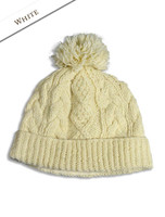 Aran Fleece Lined Rib Cap with Bobble - White