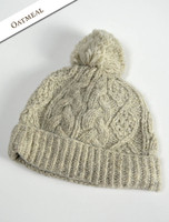 Aran Fleece Lined Rib Cap with Bobble - Oatmeal