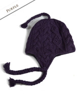 Aran Cable Fleece Lined Hat with Ear Flaps - Purple