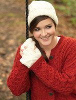 Handknit Aran Ski Hat - Natural White