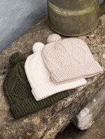 Handknit Aran Ski Hat - Moss Green, Natural White, Honey Oat.