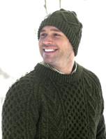Handknit Aran Ski Hat - Moss Green