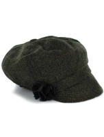 Ladies Tweed Newsboy Hat - Dark Green Plaid