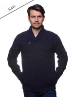 Shawl Neck Toggle Sweater - Navy