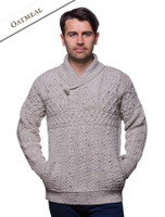 Shawl Neck Toggle Sweater - Oatmeal