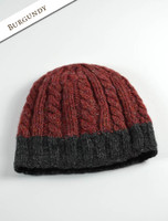Aran Fleece Lined Beanie - Burgundy/Charcoal