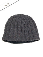 Aran Fleece Lined Beanie - Blue