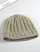 Aran Fleece Lined Beanie - Oatmeal