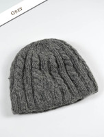 Aran Fleece Lined Beanie - Grey
