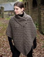 Super Soft Lattice Stitch Poncho - Brown