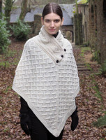 Super Soft Lattice Stitch Poncho - White