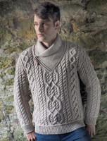Aran Zip Shawl Neck Sweater - Oatmeal