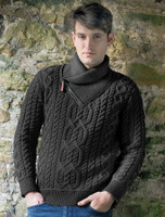 Aran Zip Shawl Neck Sweater - Charcoal