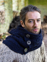 Super Soft Aran Snood with Buttons - Navy