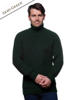Fisherman's Merino Ribbed Turtleneck Sweater - Army Green