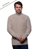 Fisherman's Merino Ribbed Turtleneck Sweater - Oatmeal