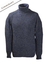 Fisherman's Merino Ribbed Turtleneck Sweater - Cormorant