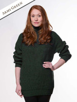 Women's Merino Ribbed Turtleneck Sweater - Army Green