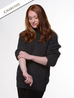 Women's Merino Ribbed Turtleneck Sweater - Charcoal