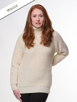 Women's Merino Ribbed Turtleneck Sweater - White