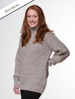 Women's Merino Ribbed Turtleneck Sweater - Oatmeal