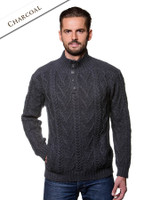 Buttoned Merino Wool Sweater - Charcoal