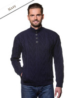 Buttoned Merino Wool Sweater - Navy