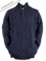 Buttoned Merino Wool Sweater - Coromrant