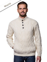 Buttoned Merino Wool Sweater - White