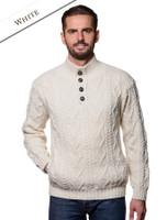 Buttoned Merino Wool Sweater - White