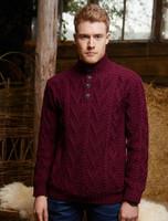 Buttoned Merino Wool Sweater - Wine