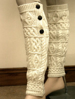 Merino Wool Aran Leg Warmers - Natural White