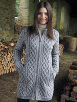 Plated Coat with Celtic Zip - Soft Grey Mix