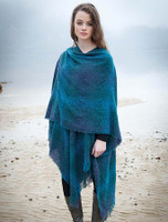 Lambswool Celtic Ruana Wrap - Teal Blue Checks