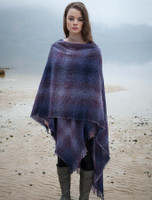 Lambswool Celtic Ruana Wrap - Purple Checks