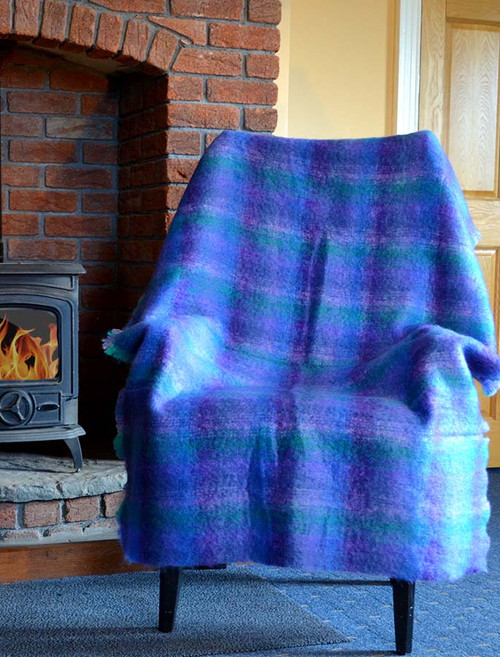 Mohair Plaid Knee Throw - Blue Lavender Green