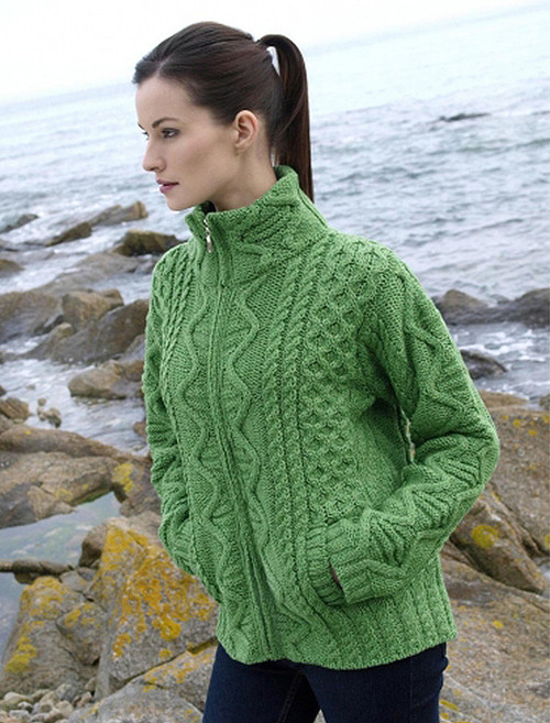 Women's Zip Aran Cardigan - Green Marl
