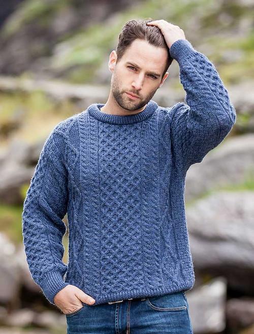 Lightweight Traditional Aran Mens Wool Sweater - Caspian