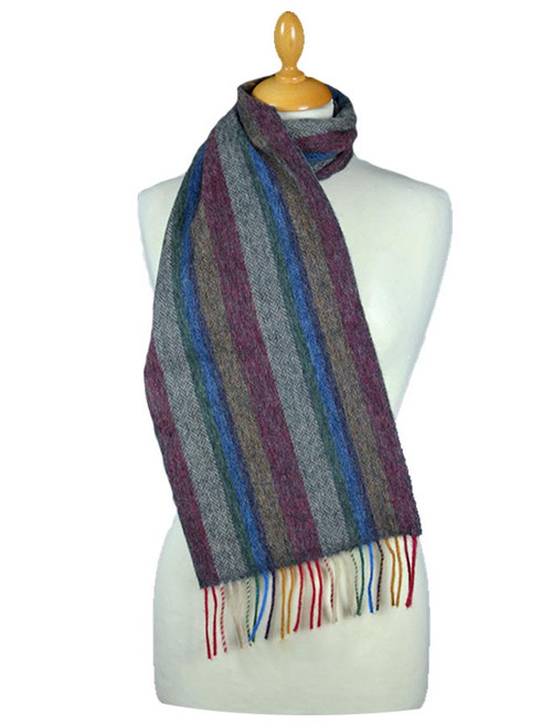 Narrow Lambswool Striped Scarf - Multi-Colour Herringbone