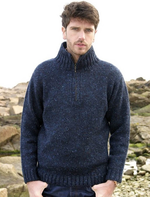 Donegal Tweed Half Zip Sweater - Denim