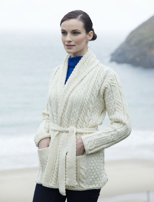 Shawl Collared Belted Cardigan - Natural White
