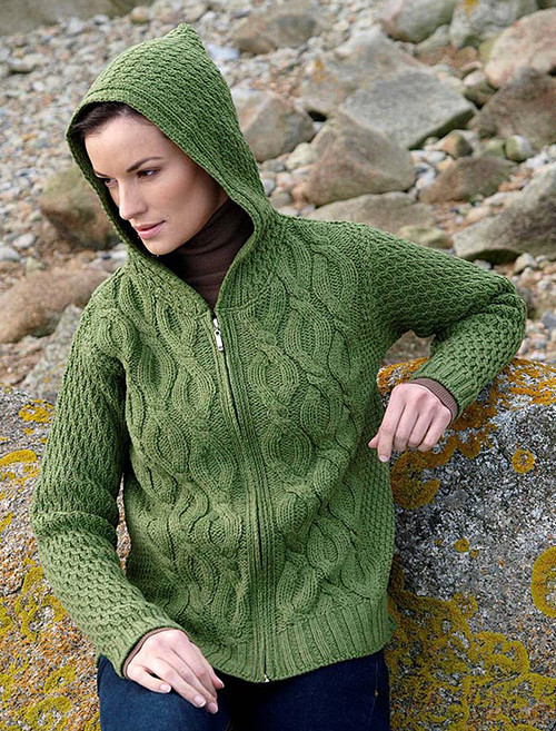 Women's Merino Wool Cable Knit Hoodie - Green