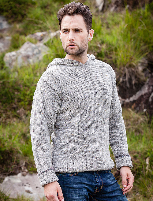 Men's Wool Hoodie with Pouch Pocket - Grey