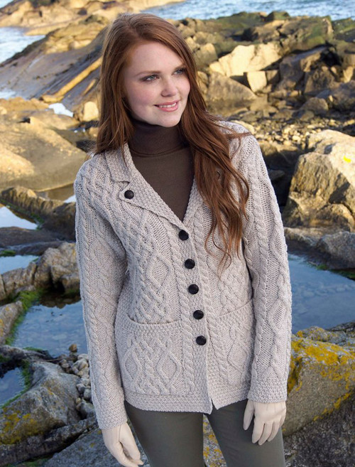 Revere Button Collar Aran Cardigan - Parsnip