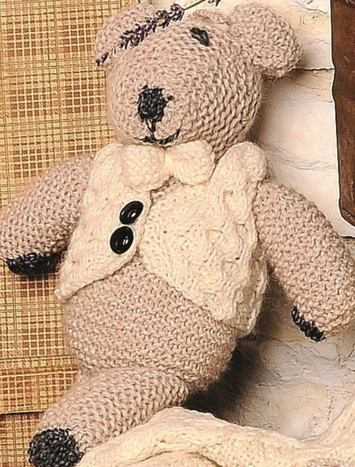 Aran Wool Teddy Bear with Waistcoat and Bow-Tie