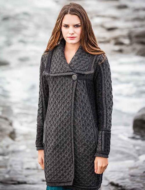 Two Tone Merino Wool Coat - Charcoal