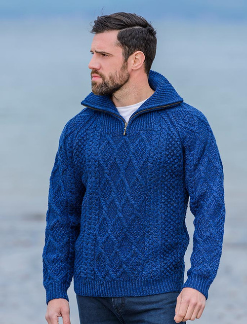 Mens Hand Knit Quarter Zip Sweater - Nighshade