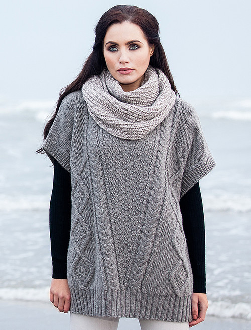 Oversized Aran Cable Sweater - Stone